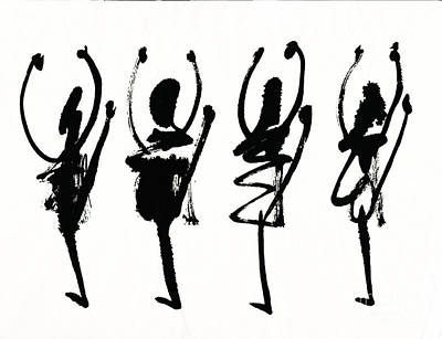 Ink Painting - Four Abstract Black Dancers by Kerstin Ivarsson
