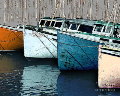 Photograph - Four Boats In Blue by Lee Owenby