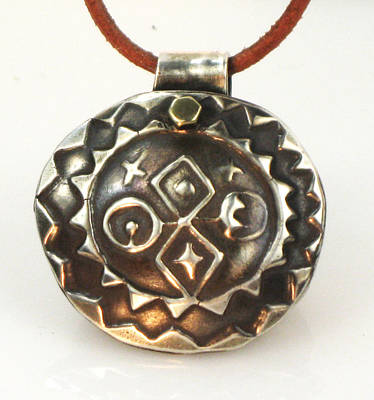 Jewelry - Four Cardinal Directions - Fine Silver Pendant by Vagabond Folk Art - Virginia Vivier