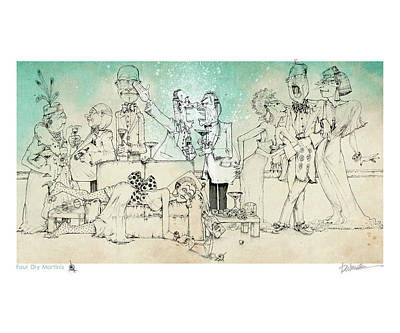 Four Dry Martinis Art Print by Dennis Wunsch