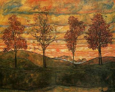 Schiele Painting - Four Trees by Celestial Images