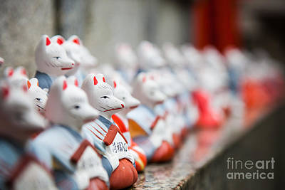 Foxes At Fushimi Inari Shrine Kyoto Japan Art Print by Fototrav Print