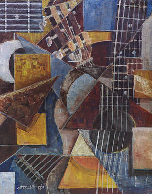 Fractured Guitar Art Print