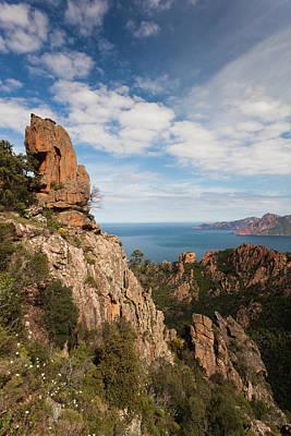 Sud Photograph - France, Corsica, Calanche, Porto, Red by Walter Bibikow