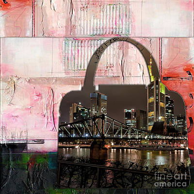 Mixed Media - Frankfurt Germany Skyline In A Handbag by Marvin Blaine