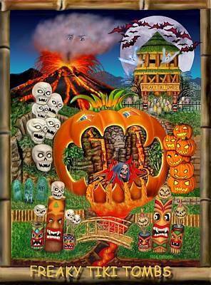 Grim Digital Art - Freaky Tiki Tombs by Glenn Holbrook