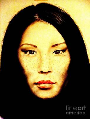Pastel - Freckle Faced Beauty Lucy Liu  by Jim Fitzpatrick