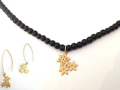 Free Shipping Set Idit Stern Floral Trio Necklace And Earrings Original by Idit Stern