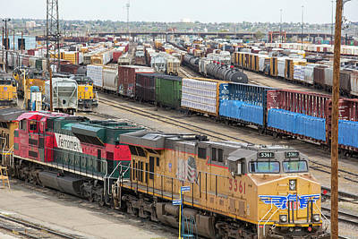 Union Pacific Photograph - Freight Trains At A Rail Yard by Jim West