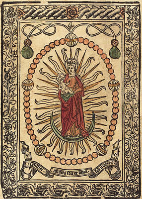 French 15th Century, The Madonna And Child In A Rosary Print by Quint Lox