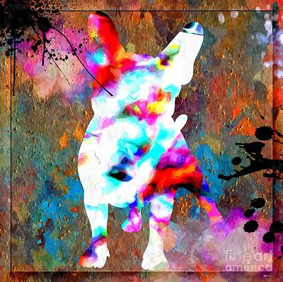 Abstract Of Dogs Mixed Media - French Bulldog by Daniel Janda