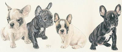 Sporting Mixed Media - French Bulldog Puppies by Barbara Keith