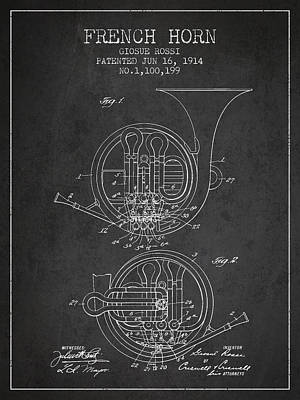 French Horn Drawing - French Horn Patent From 1914 - Dark by Aged Pixel