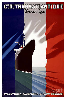 Red Line Drawing - French Line Vintage Travel Poster by Jon Neidert