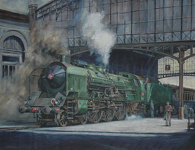 Railway Station Painting - French Pacific. by Mike  Jeffries