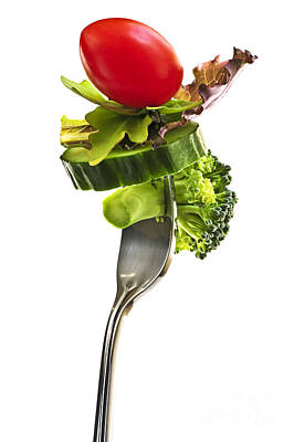 Food And Beverage Royalty-Free and Rights-Managed Images - Fresh vegetables on a fork by Elena Elisseeva