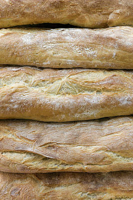 Baguette Photograph - Freshly Baked Baguettes For Sale by Panoramic Images