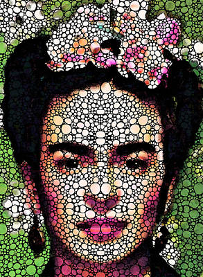 Stones Painting - Frida Kahlo Art - Define Beauty by Sharon Cummings
