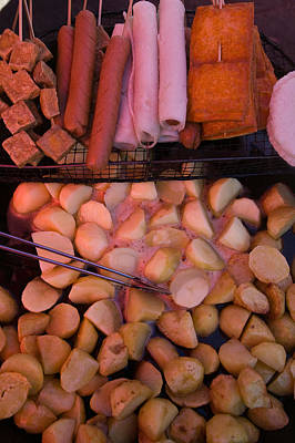 Fried Potatoes And Snacks On The Grill Art Print by Panoramic Images