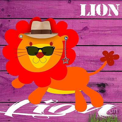 Mixed Media - Friendly Lion Collection by Marvin Blaine