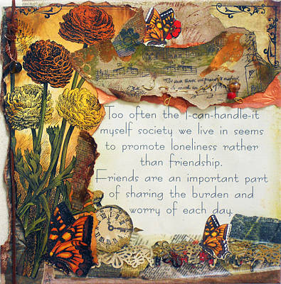 Important Mixed Media - Friends Are Important by Jennifer Steffen