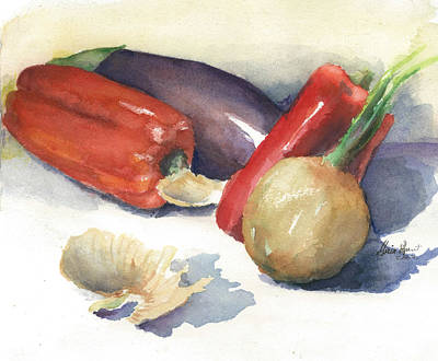 Pepper Painting - From The Tuscan Garden by Maria Hunt
