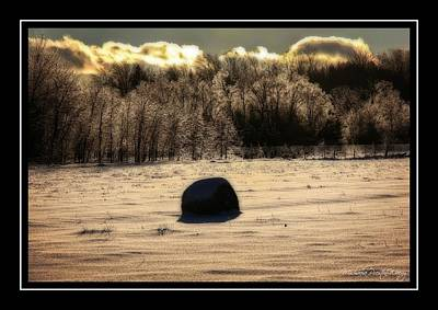 Photograph - Frozen Hay Ball by Michaela Preston