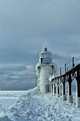 Frozen Lighthouse In Saint Joseph Art Print by Dan Sproul