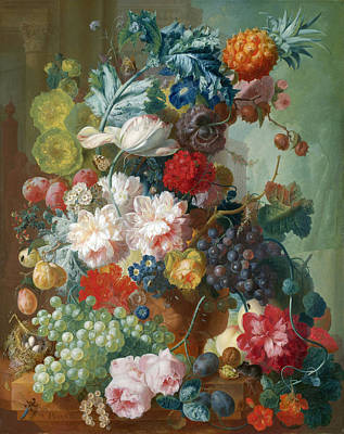 Os Painting - Fruit And Flowers In A Terracotta Vase by Jan van Os