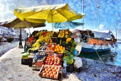 Shop Painting - Fruits And Vegetable Store On A Boat In Aegina Port by George Atsametakis