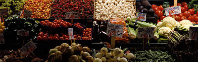 Cauliflower Photograph - Fruits And Vegetables At A Market by Panoramic Images