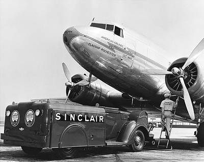 Dc-3 Plane Photograph - Fueling A Dc-3 Airliner by Underwood Archives