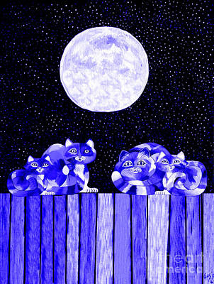 Full Moon Blues Cats Art Print by Nick Gustafson