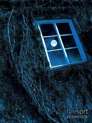 Moonlit Night Photograph - Full Moon Reflected In A Window by Richard Kail