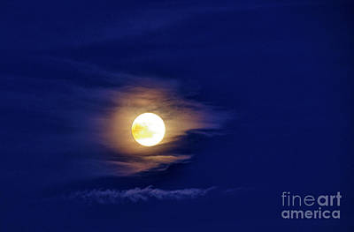 Full Moon With Clouds Print by Thomas R Fletcher