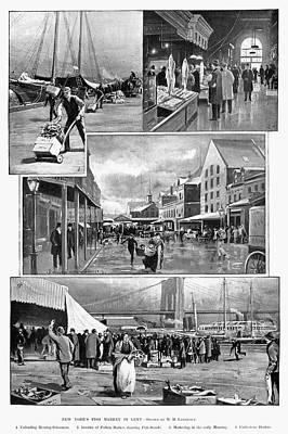 Brooklyn Bridge Drawing - Fulton Fish Market by Granger