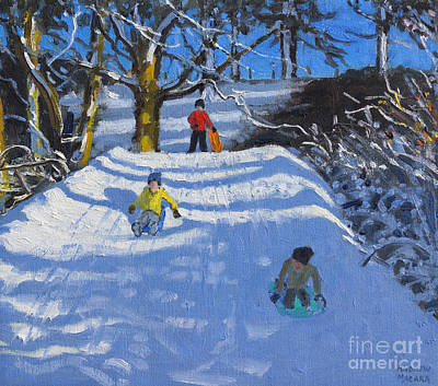 Painting - Fun In The Snow by Andrew Macara
