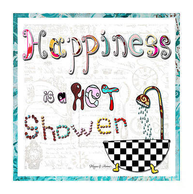 Fun Whimsical Inspirational Word Art Happiness Quote By Megan And Aroon Art Print