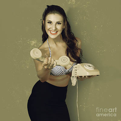 Photograph - Funky Pinup Girl Handing Over A Vintage Telephone by Jorgo Photography - Wall Art Gallery