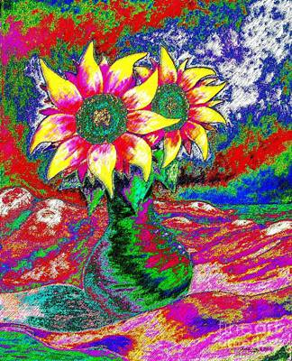 Art Print featuring the painting Funky Sunflowers by Annie Zeno