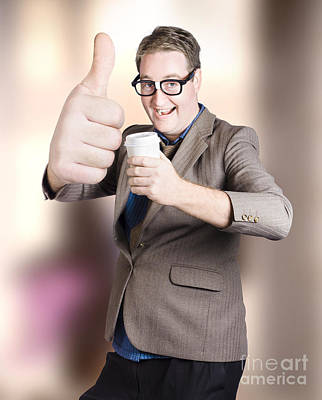 Comics Royalty-Free and Rights-Managed Images - Funny boss giving big thumb up with coffee cup by Jorgo Photography - Wall Art Gallery