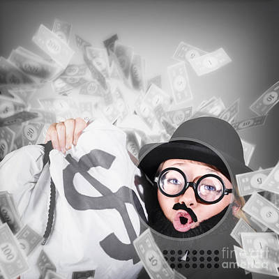 Photograph - Funny Businessman With Falling Money. Success by Jorgo Photography - Wall Art Gallery