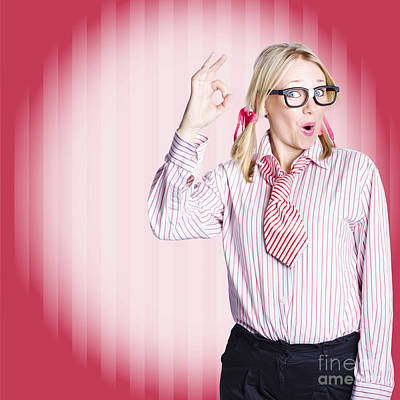 Comics Royalty-Free and Rights-Managed Images - Funny female business auditor giving ok approval by Jorgo Photography - Wall Art Gallery