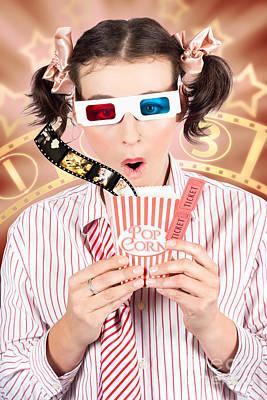 Funny Girl Watching 3d Movie At Cinema Art Print
