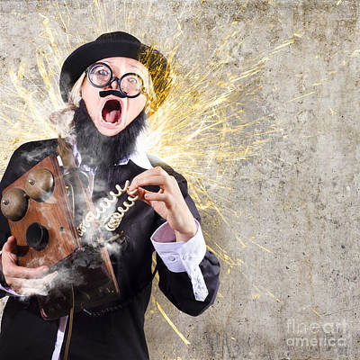 Funny Man Getting Electric Shock From Old Phone Art Print by Jorgo Photography - Wall Art Gallery