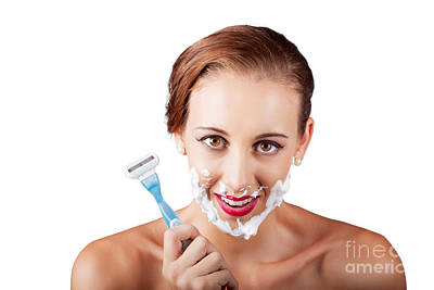 Funny Portrait Of A Woman Shaving Face With Razor Art Print