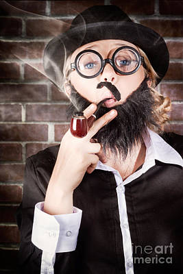 Funny Private Eye Detective Smoking Pipe Art Print by Jorgo Photography - Wall Art Gallery
