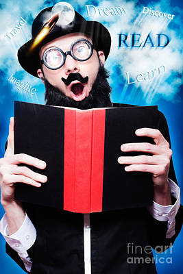 Shock Photograph - Funny Wizard Reading Magic Book Of Inspiration by Jorgo Photography - Wall Art Gallery