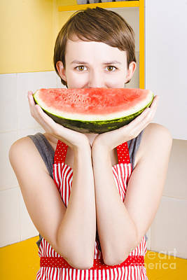 Watermelon Photograph - Funny Woman With Juicy Fruit Smile by Jorgo Photography - Wall Art Gallery