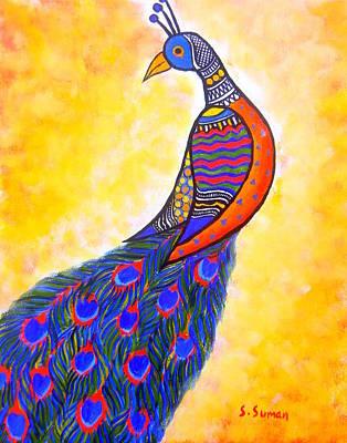 Madhubani Painting - Fusion Peacock by Shishu Suman
